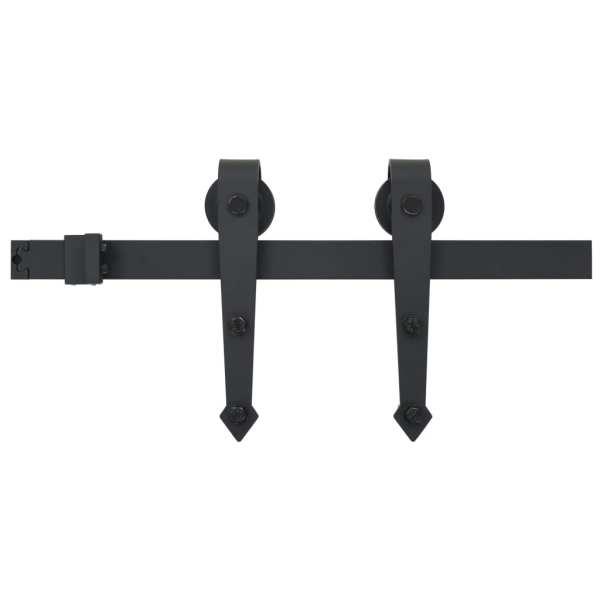vidaXL Set piese pentru ușă glisantă, negru, 183 cm, oțel