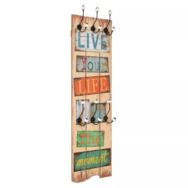 vidaXL Cuier de perete cu 6 cârlige, 120 x 40 cm, LIVE LIFE