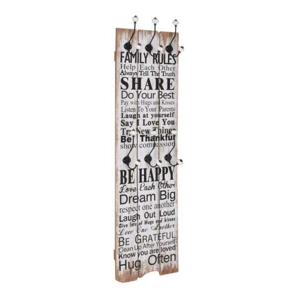 vidaXL Cuier de perete cu 6 cârlige, 120 x 40 cm, FAMILY RULES
