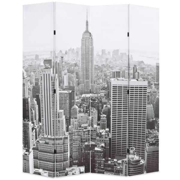 vidaXL Paravan cameră pliabil, 160×170 cm, New York pe zi, alb/negru