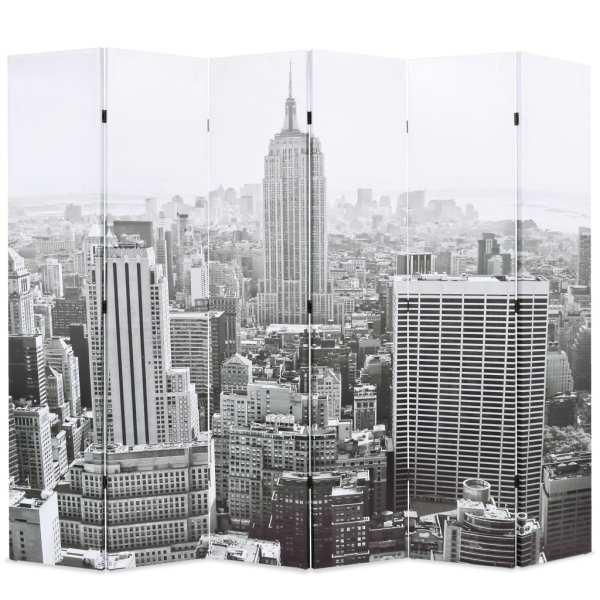 vidaXL Paravan cameră pliabil, 228 x 170 cm, New York pe zi, alb/negru