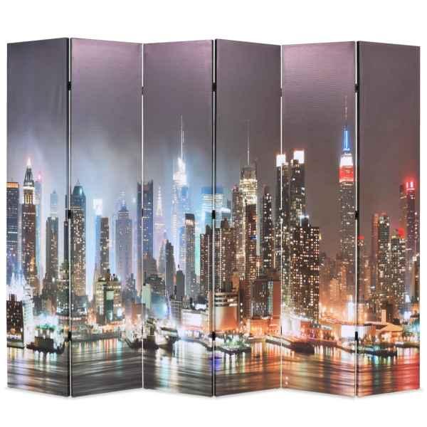 vidaXL Paravan cameră pliabil 228 x 170 cm, New York pe timp de noapte