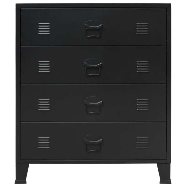 vidaXL Comodă sertare, metal, stil industrial, 78x40x93 cm, negru