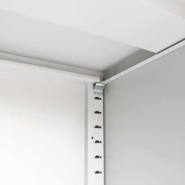 Dulap de birou cu uși glisante, metal, 90 x 40 x 90 cm, gri
