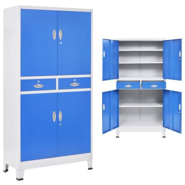 vidaXL Dulap de birou, 4 uși, metal 90 x 40 x 180 cm, gri și albastru
