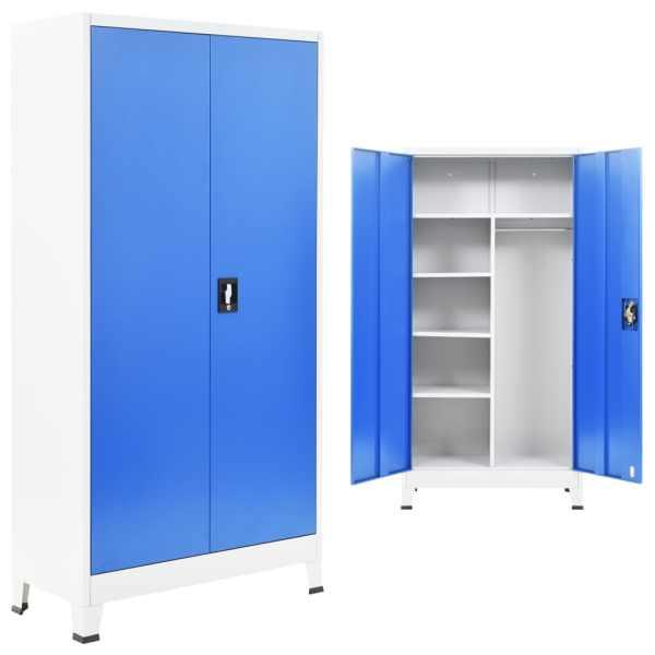 vidaXL Dulap vestiar cu 2 uși, metal, 90x40x180 cm, gri și albastru