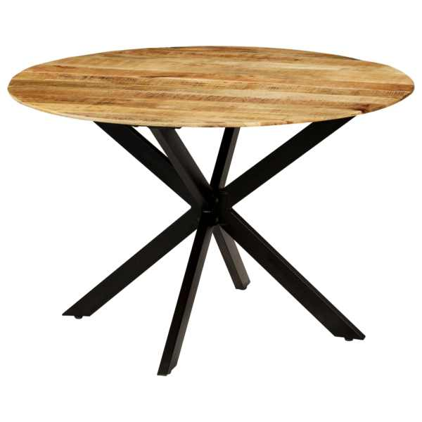 vidaXL Masă bucătărie, lemn masiv de mango nefinisat, oțel, 120×77 cm