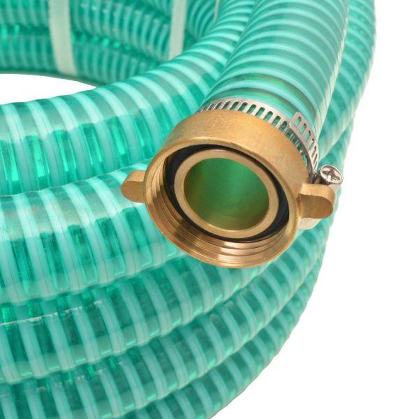 Furtun de aspirație, conectori de alamă, 7 m,  25 mm, verde