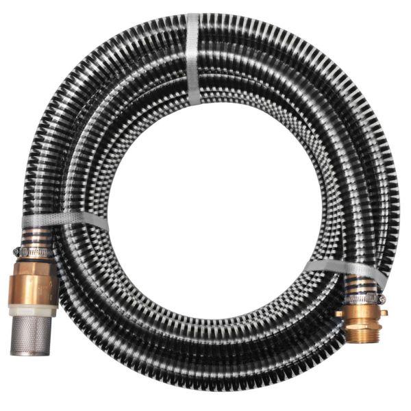 vidaXL Furtun de aspirație, conectori alamă, 3 m, 25 mm, negru