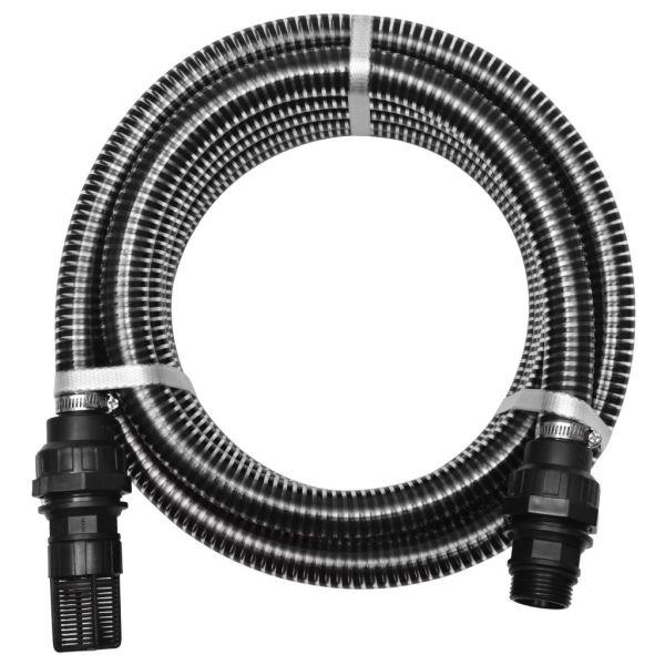 vidaXL Furtun de aspirare cu racorduri, negru, 22 mm, 10 m