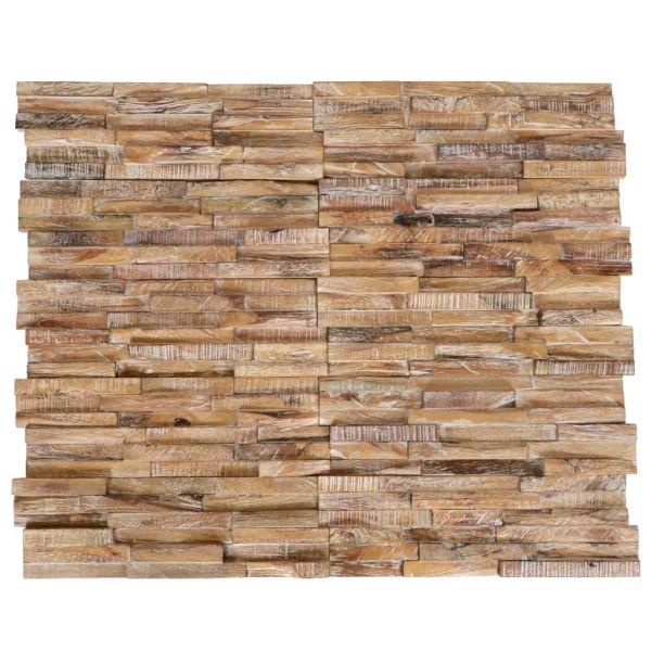 vidaXL Panouri placaj de perete 3D, 10 buc, lemn masiv de tec, 1 m²