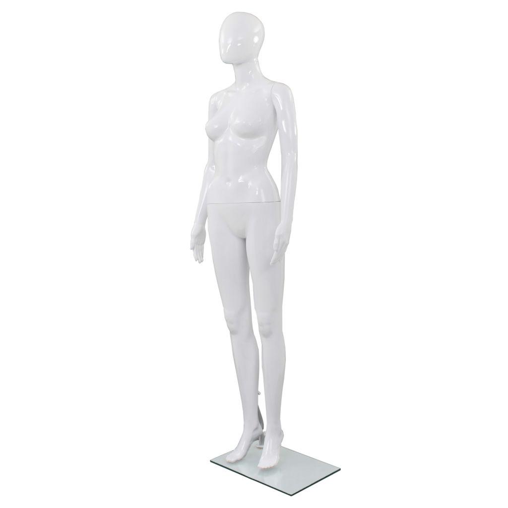 vidaXL Corp manechin feminin, cu suport din sticlă, Alb lucios 175 cm