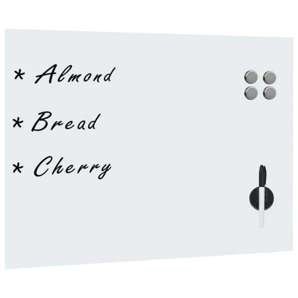 vidaXL Tablă albă magnetică de perete, sticlă, 80 x 60 cm