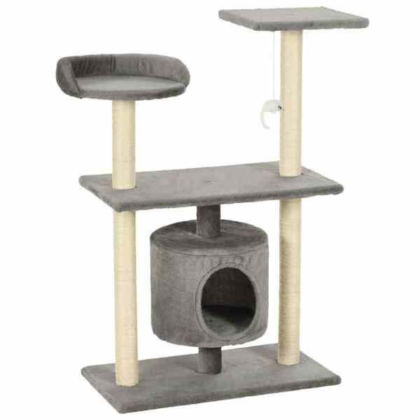Ansamblu pentru pisici cu stâlpi din funie de sisal, 95 cm Gri