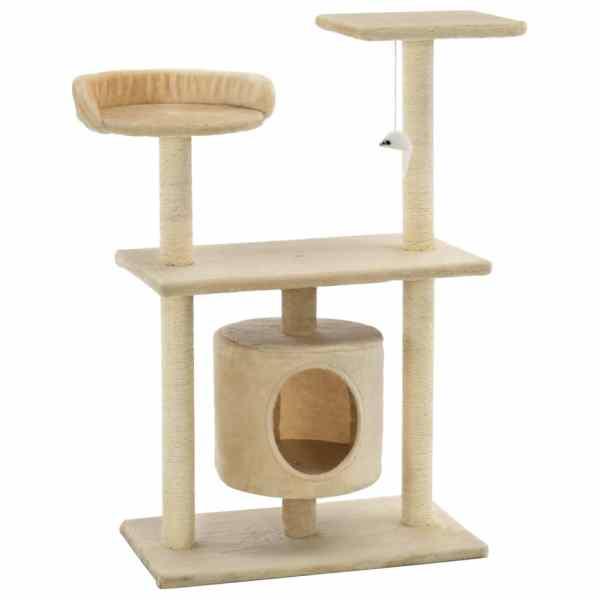 Ansamblu pentru pisici cu stâlpi din funie de sisal, 95 cm Bej