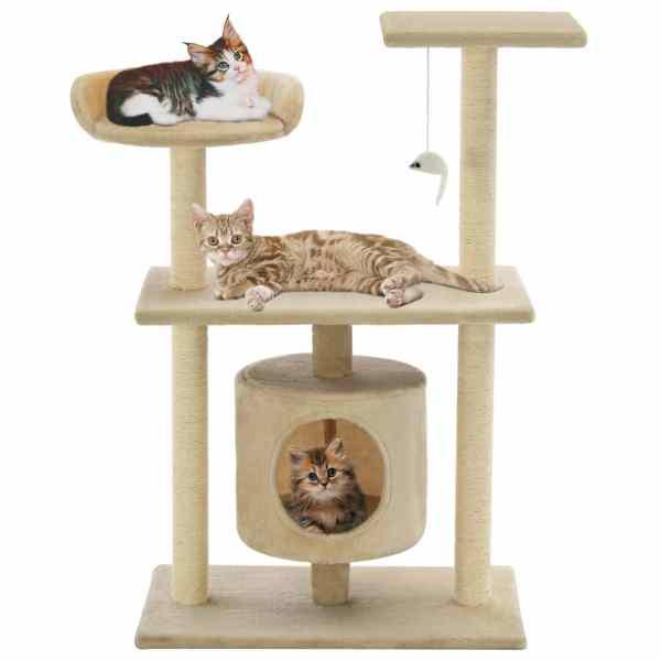 vidaXL Ansamblu pentru pisici cu stâlpi din funie de sisal, 95 cm Bej