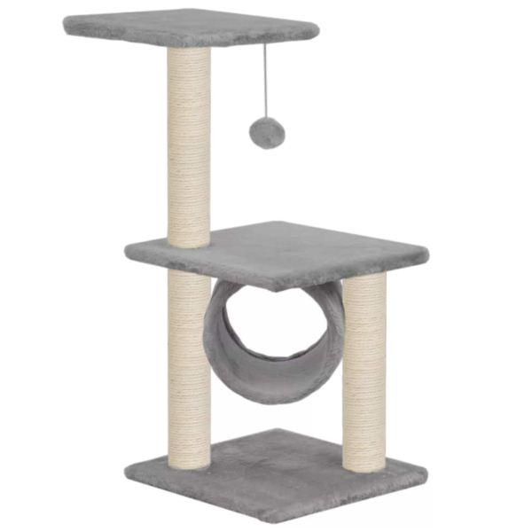 vidaXL Ansamblu pentru pisici cu stâlpi din funie de sisal, 65 cm, gri