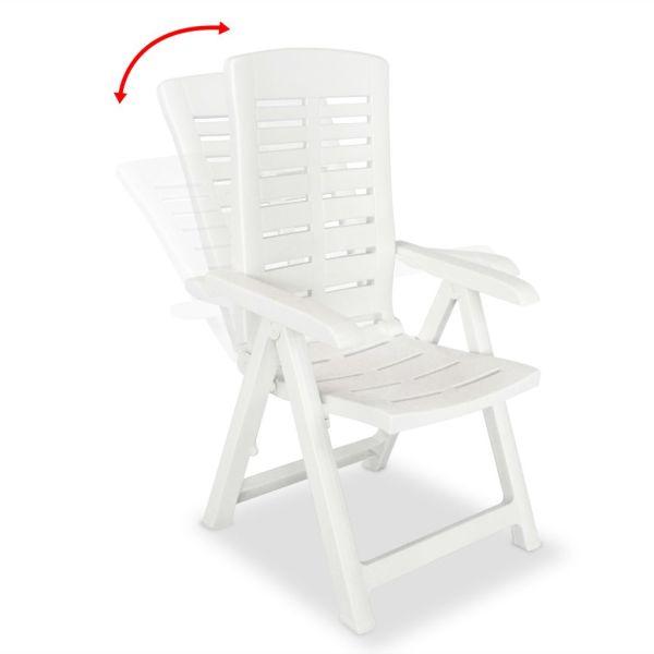 Scaune de grădină rabatabile, 4 buc., alb, plastic