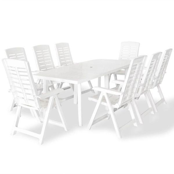 vidaXL Set mobilier de exterior, 9 piese, alb, plastic