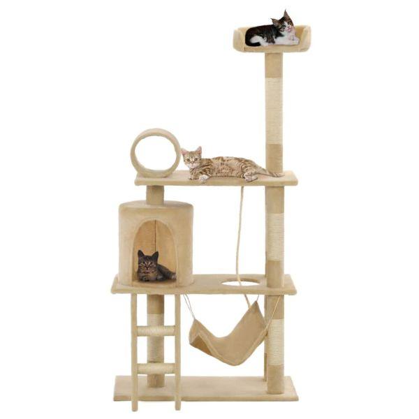 vidaXL Ansamblu de joacă pisici, stâlpi funie din sisal, 140 cm, bej