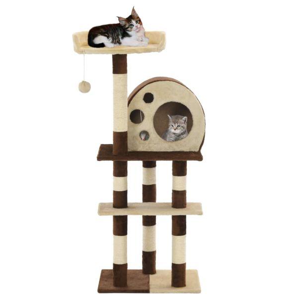 vidaXL Ansamblu de joacă pisici, stâlpi din sisal, bej și maro, 127 cm