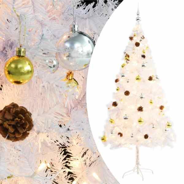 vidaXL Pom de Crăciun artificial decorat cu globuri și LED 180cm alb