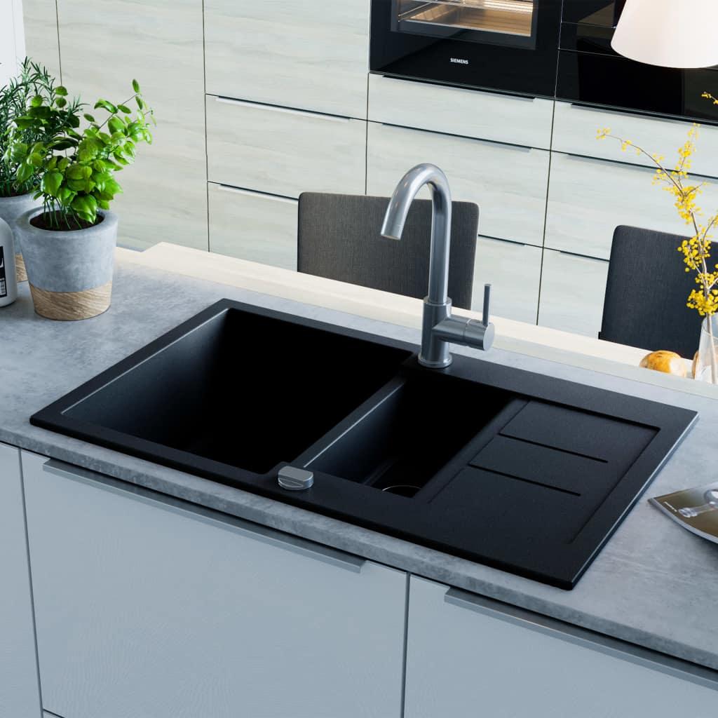 vidaXL Chiuvetă de bucătărie din granit cu două cuve, negru
