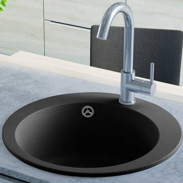 vidaXL Chiuvetă de bucătărie din granit cu o cuvă, negru, rotund