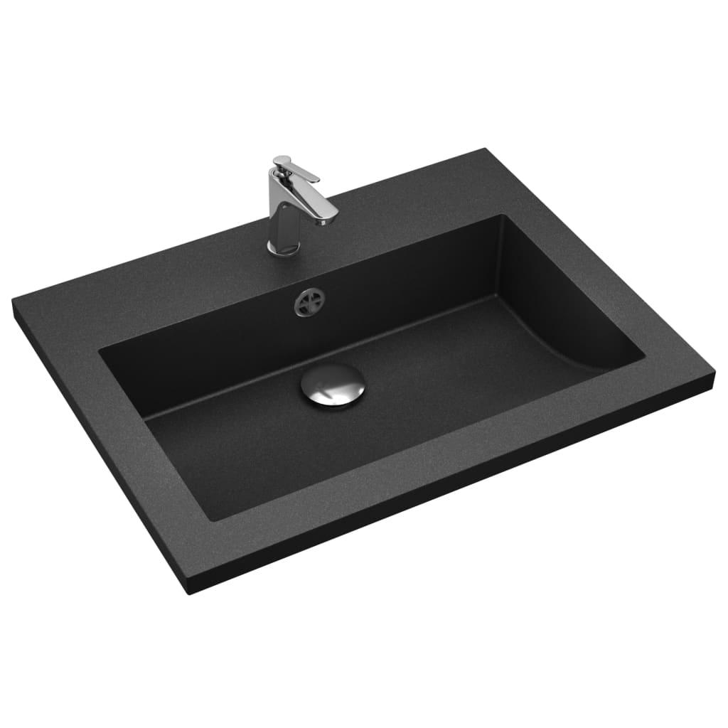 Chiuvetă din granit, negru, 600 x 450 x 120 mm