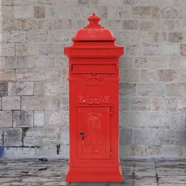 vidaXL Cutie poștală stâlp, aluminiu, stil vintage, inoxidabil, roșu