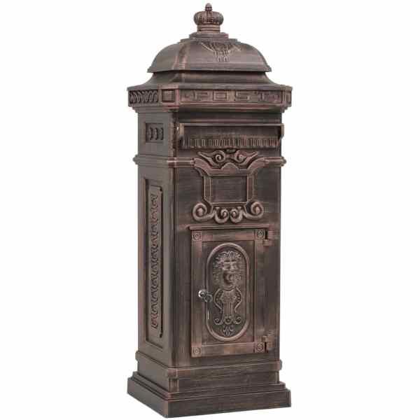 vidaXL Cutie poștală stâlp, aluminiu, stil vintage, inoxidabil, bronz