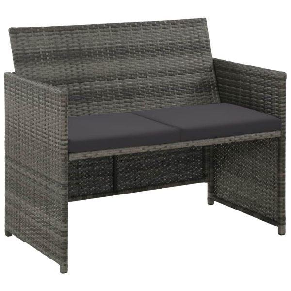 vidaXL Canapea de grădină cu 2 locuri, cu perne, gri, poliratan