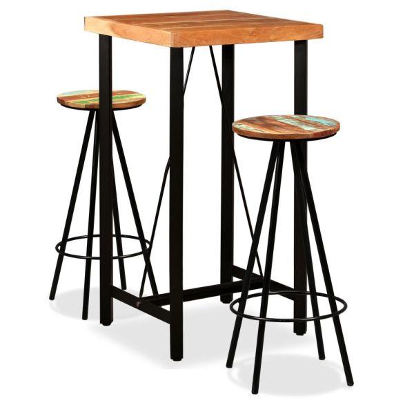 vidaXL Set de bar, 3 piese, lemn masiv de acacia și lemn reciclat