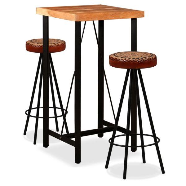 vidaXL Set de bar, 3 buc., lemn masiv acacia, piele naturală și pânză