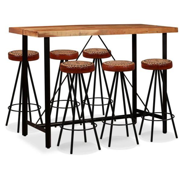 vidaXL Set bar, 7 piese, lemn masiv de acacia, piele naturală și pânză