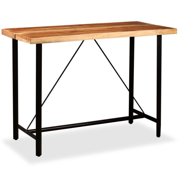 Set bar, 7 piese, lemn masiv de acacia, piele naturală și pânză