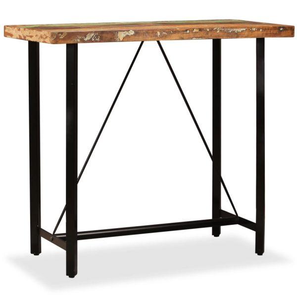 Set de bar 5 piese lemn masiv reciclat piele naturală și pânză