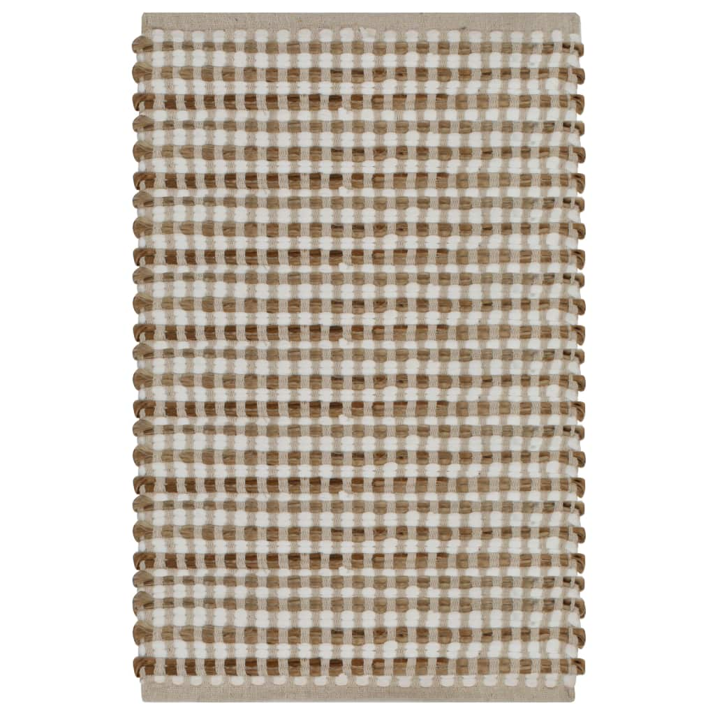 vidaXL Set covoraș de baie lucrat manual, natural și alb, iută textil