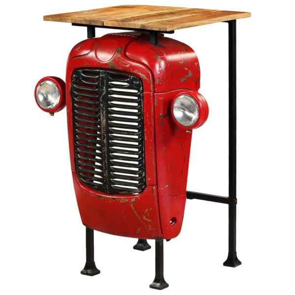 vidaXL Masă bar, stil tractor, lemn masiv mango, roșu, 60x60x107 cm