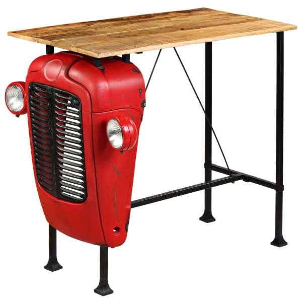 Masă bar, stil tractor, lemn masiv mango, roșu, 60x120x107 cm