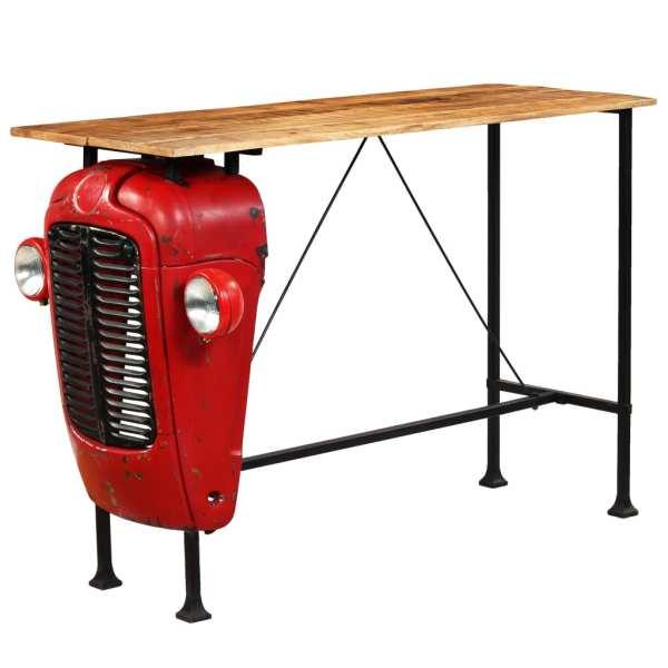 vidaXL Masă bar, stil tractor, lemn masiv mango, roșu, 60x150x107 cm
