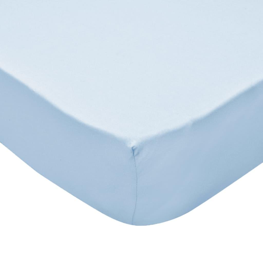 vidaXL Cearșafuri cu elastic pătuț 4 buc bleu jerseu bumbac 40×80 cm