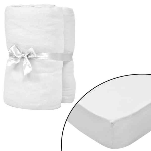 vidaXL Cearșafuri cu elastic pătuț 4 buc alb jerseu bumbac 70×140 cm