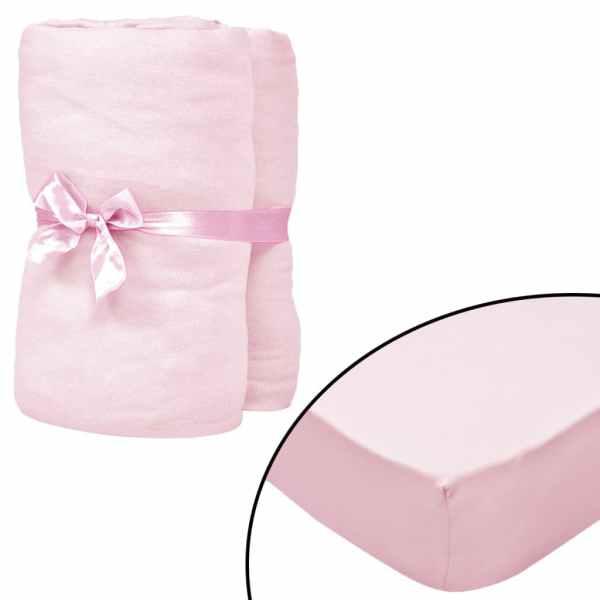 vidaXL Cearșafuri cu elastic pătuț 4 buc roz jerseu bumbac 70×140 cm
