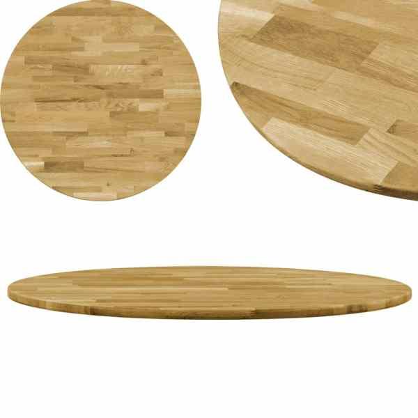 vidaXL Blat de masă, lemn masiv de stejar, rotund, 23 mm, 600 mm