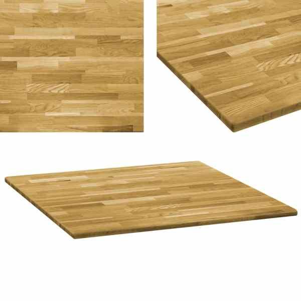 vidaXL Blat de masă, lemn masiv de stejar, pătrat, 23 mm, 70×70 cm