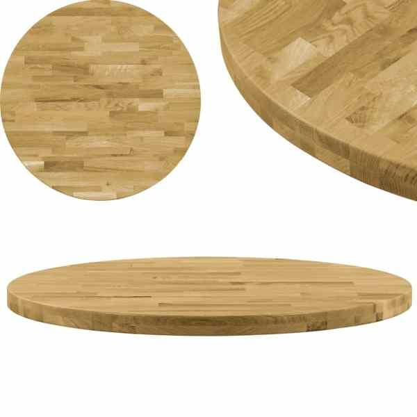 vidaXL Blat de masă, lemn masiv de stejar, rotund, 44 mm, 700 mm