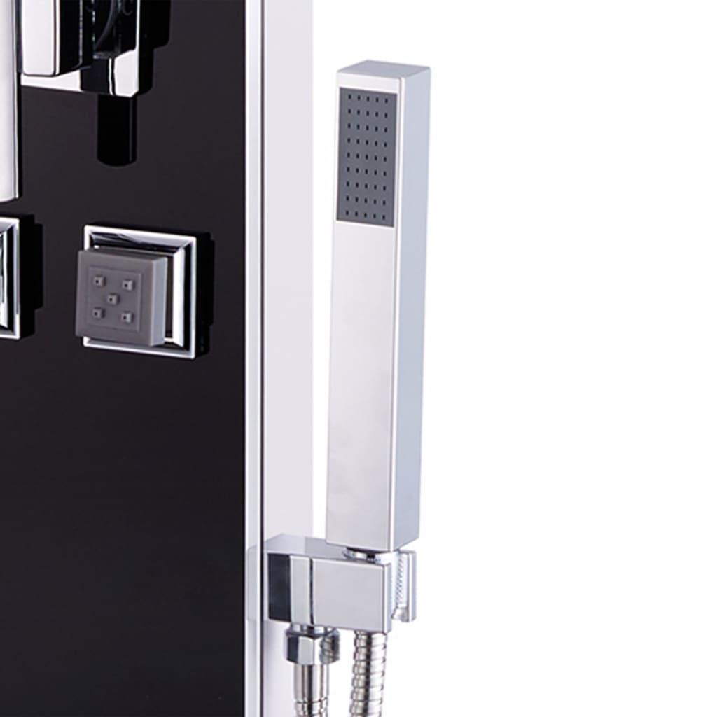 vidaXL Unitate panou de duș, sticlă, 18 x 42,1 x 120 cm, negru