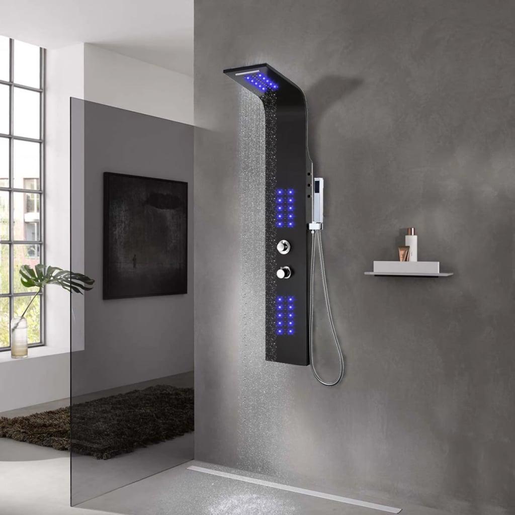 vidaXL Unitate panou de duș, aluminiu, 20 x 44 x 130 cm, negru