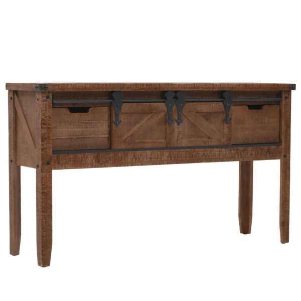 vidaXL Masă consolă din lemn masiv de brad, maro, 131×35,5×75 cm